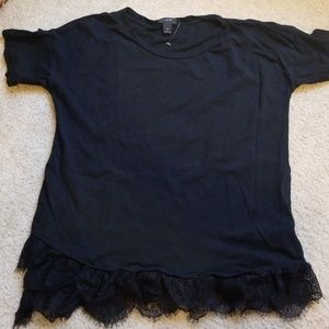 Adorable J. CREW Black Tee with Lace Hem XS
